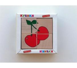 Кубики. Сложи рисунок Фрукты-ягоды 4шт.