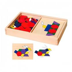 Геометрическая мозаика Viga Toys деревянная с шаблонами (50029)