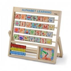 Деревянная игрушка Viga Toys Английский алфавит с часами (50033)