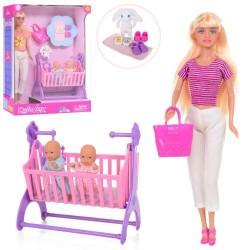 Кукла Defa 29см, пупс 2 шт, 8см, кроватка, сумка, аксессуары, 2 вида Defa (8359-BF)