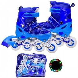 Ролики S, 30-33, метал.рама, колеса PU 1 свет, синий, в сумке 40*35см  AToys (R2075)