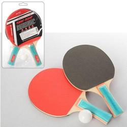 Набор для настольного тенниса №3, ракетки 2 шт, EVA+резина, ручка наборная, 1шарик 40мм, в слюде 18*29*4см