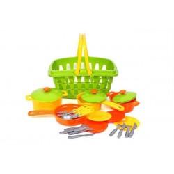 Игровой  Набор посуды в корзинке