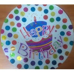 Фольгированный шарик, ЦЕНА ЗА УП., В УП.50ШТ, Happy Birthday, круглый, вид 4 в пак.