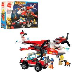 """Конструктор """"Brick"""" 369 дет., пожарн., самолет, джип, фигурки, в кор. 37*28*7см"""