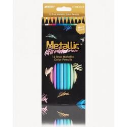 Карандаши Metallic, 12 цветов, шестигранные с метал. блеском, ТМ