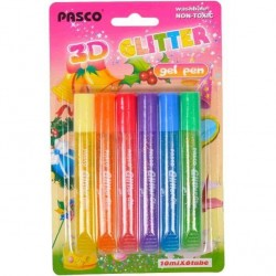 Клей с блестками, 3D, 10мл, 6шт colors на блистере 19*12см, ТМ Pasco