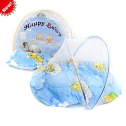 Коврик для младенца с москитной сеткой,подушкой, в сумке 55 х5,5 х43 см.  AToys (W6500-18)