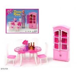 """Мебель """"Gloria"""" для столовой, стол, стулья, буфет, посуда..., в кор. 32*24*5см"""