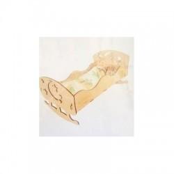 Кроватка деревянная для кукол 43*23см, фанера Дерево (172311)