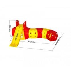 Горка с тоннелем, желто- красная Doloni (01470/2)