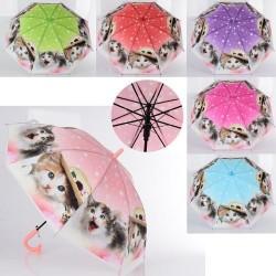 Зонтик детский длина 66см, трость 61см, диам 82см, спица 48см, свисток, клеенка, 6 цв, пак.