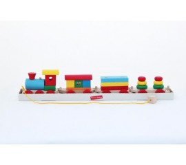 Паровоз и 3 вагона (пасажир., плитовоз, 2 пирамидки)