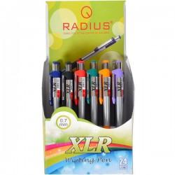 Ручка XLR шариковая, автомат., синяя, ЦЕНА ЗА УП. 24ШТ, корпус разноцвет., в кор. 10*14*7см, ТМ Radius