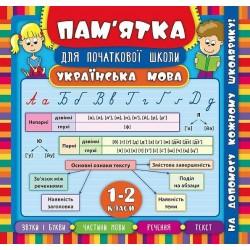 """Книга """"Пам'ятка для початкової школи. Українська мова. 1-2 кл"""" 21*20см, УЛА"""