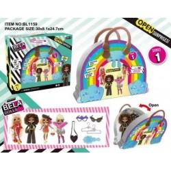 Игровой набор кукла Bella Dolls, сумка д/ девочек, в кот. кукла 17,5 см.+сюрпризы упаковка: коробка 30 х8,1 х24,7 см.  AToys (BL1159)